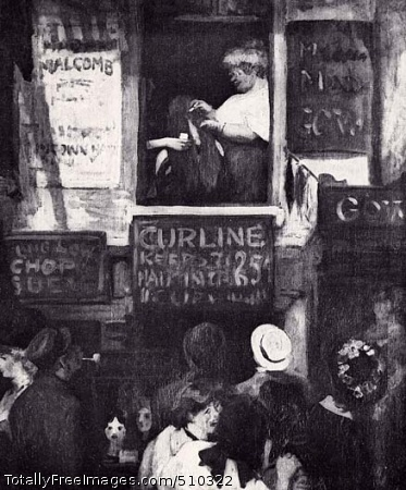 "Hairdresser's Window Scene showing the window of a hairdresser's shop on Sixth Avenue in New York City, where a crowd of people has stopped to watch the hairdresser inside bleaching a woman's long dark hair. All around the shop window are advertisements that read ""Madame Malcomb,"" ""Curline / Keeps Hair in Curl 25 [cents]"" and ""Ung Low Chop Suey."" Artist: Sloan, John, 1871-1951, painter. Medium: Oil on canvas. Smithsonian Control Number: IAP 06910520"