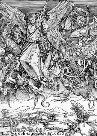 St. Michael's fight against the dragon 1498 (330 kB); Woodcut, 39.2 x 28.3 cm (15 x 11 1/8 in)