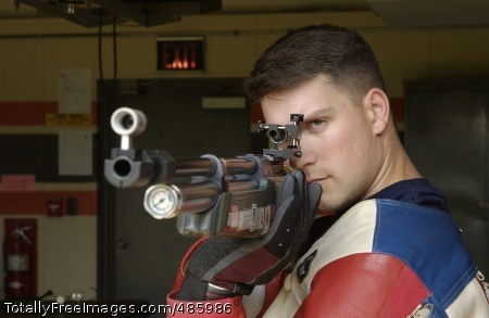 Anti Earns Spot on Sgt. 1st Class Jason Parker of the U.S. Army Marksmanship Unit prepares to fire. He continues to hold first place in Men's Three-Position Rifle event with a total score of 2546.6. Photo Credit: May 19, 2008