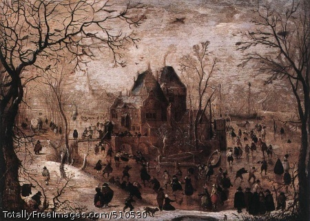 Winter Landscape Avercamp, Hendrick 1605-10; Oil on oak, 25 x 34 cm; Wallraf-Richartz Museum, CologneAvercamp's early Winter Landscape, with its general view and colourful narrative character, is very much in the tradition of the famous winter landscapes by Pieter Bruegel the Elder. But Avercamp's winter landscapes painted after the 1620s - reflecting the trends of the period - are composed with the now fashionable low horizon and vanishing-point perspective.