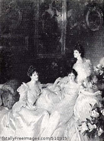The Wyndham Sisters: Lady Elcho, Mrs. Adeane, and Mrs. Tennant A portrait of the three Wyndham sisters, Mary, Pamela, and Madeline, all dressed in white gowns and seated on a sofa in the Victorian interior of the Wyndham home on Belgrave Square in London. On the wall in the background is a large portrait of their mother, Mrs. Percy Scawen Wyndham (nee Madeline Caroline Frances Eden Campbell), by George F. Watts. Madeline (1869-1941), the wife of Charles R. W. Adeane, is seated on the left. Beside her is Pamela (1871-1928), the wife of Edward Tennant. Seated on the back of the sofa is Mary Constance (1862-1937), Lady Elcho, the wife of Hugo Richard Wemyss Charteris Douglas, the eleventh earl of Wemyss, also Lord Elcho, Earl of March, Viscount Pebbles, and Baron of Neidpath. Artist: Sargent, John Singer, 1856-1925, painter. Medium: Oil on canvas. Smithsonian Control Number: IAP 36120614