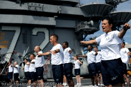 100915-N-5386R-006   PACIFIC OCEAN (Sept. 15, 2010) The Abraham Lincoln Carrier Strike Group chief petty officer selectees perform physical training exercises on the flight deck of the aircraft carrier USS Abraham Lincoln (CVN 72). The Abraham Lincoln Carrier Strike Group recently departed for a scheduled deployment to focus on maritime security operations and theater security cooperation efforts to aid  regional stability. (U.S. Navy photo by Mass Communication Specialist 3rd Class Robert Robbins/Released)