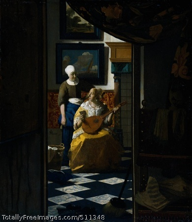 "The Love Letter Vermeer, Jan c. 1669-70; Oil on canvas, 44 x 38.5 cm; Rijksmuseum, AmsterdamPulling a curtain to one side, a scene of domestic intimacy is revealed. A well-to-do woman, clothed in yellow, is being handed a letter. She glances up questioningly at her maid and pauses in her lute playing. The room with the two women is brilliantly lit; the space in front of it is darker. Sheet music can be seen on a chair. Perhaps the lady is waiting for a person with whom to play music. On the dark wall at the left of the door opening is a map. Vermeer signed the painting with his characteristic signature, compressed on the left, next to the maid, is the name 'JVMeer'.Love's tempestuous turmoil ?Although the lady has not yet opened the letter it is apparent from the picture that it is from a lover. The two pictures in the background indicate this. A painting within a painting often indicates the artist's intention in the picture. Here the lower painting is a seascape. In the seventeenth-century language of imagery the sea stood for love, and a ship for a lover. The emblem written by Jan Krul 'Far from home, never far from my heart' expresses this well. The upper picture shows a man walking along a sandy path: as in the painting of the ship, there is the suggestion of a person on a journey.Emblem by Jan Harmensz Krul, Far from home, never far from my heart, 1640An emblem is a picture accompanied by a motto or a verse. Jan Krul's emblem has the motto ""Though you are far away, you are always in my heart"". The picture shows a ship with Cupid at the sails. The man at the forecastle is addressing his beloved on the quay. His gesture illustrates how precarious love can be. A verse accompanies the picture:On the unbounded sea of trackless waves, My amorous heart sails between hope and fear: Love is like the sea, a lover like a ship, Your favor a safe harbor, your rejection a rock; If the ship were to run aground, All hope of a safe return would be dashed; Show the harbor of your favor, by a beacon of love, So that I may escape the Sea of love's fear.Source: Jan Harmensz Krul, Images of Love: Dedicated to Amorous Youth, Amsterdam 1640.Still more loveVermeer has incorporated even more references to love into his picture. A lute symbolises the harmony produced by love: when one lute is played, other nearby lutes resonate in sympathy. The Dutch writer Jacob Cats illustrated this effect with a so-called emblem. The lute and sheet music in Vermeer's painting The Love Letter suggest that the lady is waiting for another player. In the foreground a pair of slippers and a broom probably refer to a less exalted kind of love.Jacob Cats, Lute tuner, 1618Lonely lute on the lapPair of forlom slippersLess exhalted ?Less than properThe broom and the slippers in the foregound of Vermeer's Love Letter suggest a less than proper love affair. Marrying ""over the broom"" was a 17th-century Dutch euphemism for living together our of wedlock. Moreover, loose women were often compared to old slippers casually thrown around.Vermeer and De HoochVermeer has painted a typical seventeenth-century Dutch interior. It is a prosperous home, judging from the gilt-leather wall hangings, the elaborate mantelpiece and the woman's fur-trimmed satin jacket. Vermeer borrowed the subject - women in a domestic setting - from his fellow Delft artist, Pieter de Hooch. De Hooch was fond of through-views from one room into another. Possibly Vermeer took the idea for the composition of the Love Letter from a painting by De Hooch presently in Cologne. However, this painting is a true Vermeer. The freshness of the yellow and blue, the beautiful treatment of light and the subtle nuances of colour in the garments are unmistakably the work of the master.Color nuances and gilt-leatherPieter de Hooch, Linen Chest, 1663: women in a well-to-do interiorCredits: The Rijksmuseum, Amsterdam."