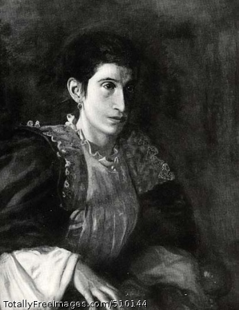Signora Gomez d'Arza Portrait of an Italian actress, Signora Gomez d'Arza, whose husband Enrico was the impresario of a small theater in the Italian section of Philadelphia. She is shown in three-quarter view, staring off to the right. She wears a costume with lace trim around the neck and dark blue sleeves, and she wears a red earring. Artist: Eakins, Thomas, 1844-1916, painter. Medium: Oil on canvas. Smithsonian Control Number: IAP 36120359