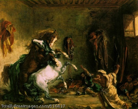 Arabian Horses Fighting in a Stable 1860 (160 Kb); Oil on canvas, 64.5 x 81 cm; Musee d'Orsay, Paris