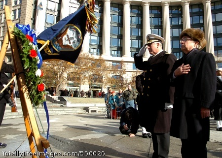 101207-N-8132M-109 WASHINGTON (Dec. 7, 2010) Rear Adm. Patrick Lorge, Commandant of Naval District Washington, and retired Rear Adm. Kleber Masterson Jr. render honors during a wreath laying ceremony at the U.S. Navy Memorial commemorating the 69th anniversary of the Dec. 7, 1941 Japanese attack on Pearl Harbor. (U.S. Navy photo by Mass Communication Specialist 2nd Class Kiona Miller/Released)