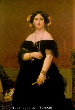 Madame Moitessier 1851 (80 Kb); Oil on canvas, 146.7 x 100.3 cm (57 3/4 x 39 1/2 in); The National Gallery of Art, Washington, D.C.