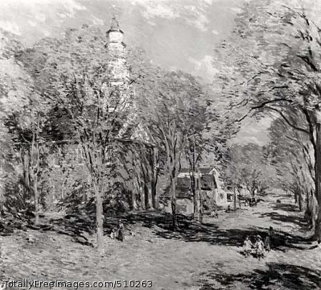 October Morning - Deerfield, Mass. Artist: Metcalf, Willard Leroy, 1858-1925, painter. Medium: Oil on canvas. Smithsonian Control Number: IAP 08350049