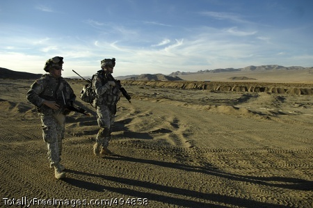 Training Doesn't Capt. David J. Smith and 2nd Lt. Mike Barth patrol the vast southern California desert, where the climate and topography is not unlike many areas of the Middle East. Photo Credit: Feb 21, 2007