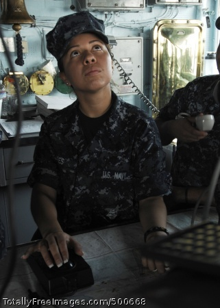 110510-N-DU438-317 MAYPORT, Fla. (May 10, 2011) Quartermaster Seaman Barbara Flores, assigned to the guided-missile cruiser USS Gettysburg (CG 64), stands watch on the ship's bridge as the navigation detail plotter. Gettysburg is deployed as part of the George H.W. Bush Carrier Strike Group and is supporting maritime security operations and theater security cooperation efforts in the U.S. 5th and 6th Fleet areas of responsibility. (U.S. Navy photo by Mass Communication Specialist Seaman Betsy Lynn Knapper/Released)