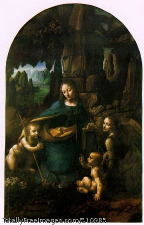 The Virgin of the Rocks 1503-06 (140 Kb); Oil on wood, 189.5 x 120 cm (6 x 4 ft); National Gallery, London