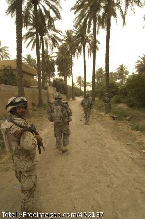 Army Reserve Soldiers from the 3rd Infantry Division and Iraqi soldiers move to their next objective in Arab Jabour, Iraq. Reserve Soldiers are in the fight, together with the active component and Guard. Photo Credit: Aug 9, 2007