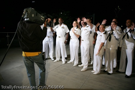 110413-N-YM440-007 DALLAS (April 13, 2011) Sailors participating in Dallas-Fort Worth Navy Week wave to the camera before a Daybreak morning news show segment on WFAA Channel 8 television. The segment highlighted events of the Navy Week, one of 21 Navy Weeks planned across America for 2011. Navy Weeks are designed to showcase the investment Americans have made in their Navy as a global force for good and increase awareness in cities that do not have a significant Navy presence. (U.S. Navy photo by Senior Chief Mass Communication Specialist Gary Ward/Released)