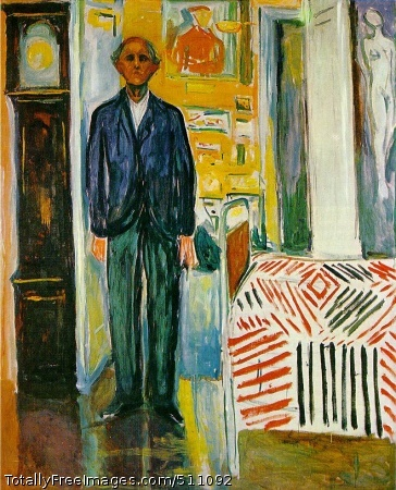 Self Portrait: Between Clock and Bed 1940-42; Oil on canvas, 149.5 x 120.5 cm; Munch Museum, Oslo
