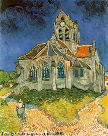 L'église d'Auvers-sur-Oise (The Church at Auvers-sur-Oise) 1890 (220 Kb); Oil on canvas, 94 x 74 cm (37 x 29 1/8 in); Musee d'Orsay, Paris