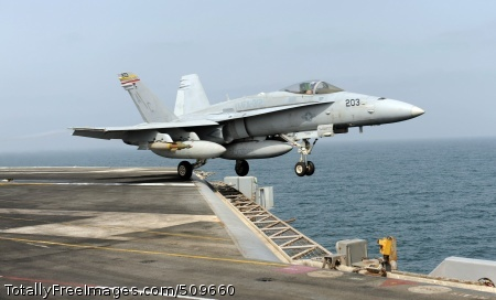 100917-N-6362C-168  ARABIAN SEA (Sept. 17, 2010) An F/A-18C Hornet assigned to the Checkerboards of Marine Fighter Attack Squadron (VMFA) 312 launches from the aircraft carrier USS Harry S. Truman (CVN 75). VMFA-312 is deployed as part of the Harry S. Truman Carrier Strike Group supporting maritime security operations and theater security cooperation efforts in the U.S. 5th Fleet area of responsibility. (U.S. Navy photo by Mass Communication Specialist Seaman Apprentice Tyler Caswell/Released)