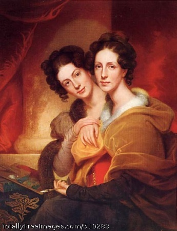 The Sisters Double portrait of the artist's daughters, Rosalba Carriera Peale (1799-1874) and Eleanor Peale Jacobs (1805-1877), seated together with a palette and drawing tool. Artist: Peale, Rembrandt, 1778-1860, painter. Medium: Oil on canvas. Smithsonian Control Number: IAP 35680299