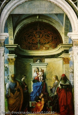 Madonna with saints 1505 (180 kB); Altar painting: oil on wood, transferred to canvas 402 x 273 cm (158 1/2 x 102 1/2 in); church of S. Zaccaria, Venice