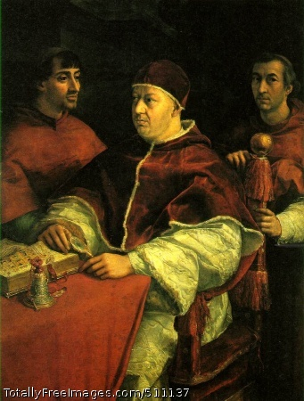 Pope Leo X with two cardinals Raphael 1518 (150 Kb); Oil on wood, 154 x 119 cm (60 5/8 x 46 7/8 in); Uffizi, FlorenceIt was for this achievement that Raphael has remained famous throughout the centuries. Perhaps those who connect his name only with beautiful Madonnas and idealized figures from the classical world may even be surprised to see Raphael's portrait of his great patron Pope Leo X of the Medici family, in the company of two cardinals. There is nothing idealized in the slightly puffed head of the near- sighted Pope, who has just examined an old manuscript (somewhat similar in style and period to the Queen Mary's Psalter. The velvets and damasks in their various rich tones add to the atmosphere of pomp and power, but one can well imagine that these men are not at ease. These were troubled times, for we remember that at the very period when this portrait was painted Luther had attacked the Pope for the way he raised money for the new St Peter's. It so happens that it was Raphael himself whom Leo X had put in charge of this building enterprise after Bramante had died in 1514, and thus he had also become an architect, designing churches, villas and palaces and studying the ruins of ancient Rome. Unlike his great rival Michelangelo, though, he got on well with people and could keep a busy workshop going. Thanks to his sociable qualities the scholars and dignitaries of the papal court made him their companion. There was even talk of his being made a cardinal when he died on his thirty-seventh birthday, almost as young as Mozart, having crammed into his brief life an astonishing diversity of artistic achievements.