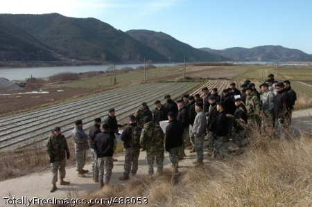 Staff Ride 1 Leaders from the 2nd Bn., 9th Inf. Regt. gather at the Naktong River, the site of a two-week battle in August 1950.  Enemy forces built a bridge at night in an attempt to cross the river and conduct a surprise attack. Photo Credit: Feb 20, 2008