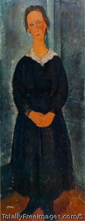La jeune bonne (The Servant Girl) c. 1918 (160 Kb); Oil on canvas, 152.5 x 61 cm (60 x 24 in); Albright-Knox Art Gallery, Buffalo, NY