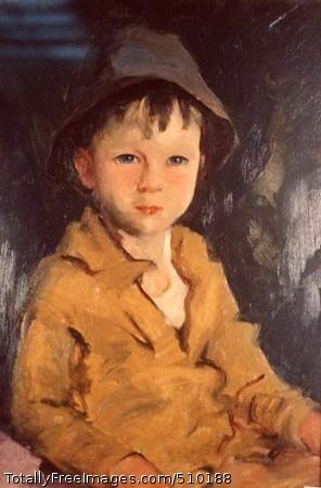 Jimmy Half-length portrait of a boy wearing a hat. Artist: Henri, Robert, 1865-1929, painter. Medium: Oil on canvas. Smithsonian Control Number: IAP 02230022