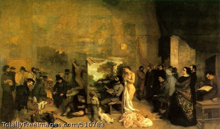 """The Painter's Studio; A Real Allegory 1855 (170 kB); Oil on canvas, 361 x 598 cm (11' 10 1/4"""" x 19' 7 1/2""""); Musee d'Orsay, Paris"""