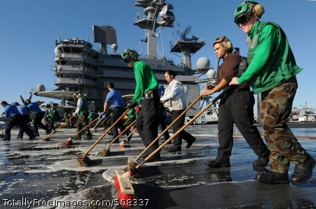 101022-N-2686K-281 ATLANTIC OCEAN (Oct. 22, 2010) Sailors aboard the aircraft carrier USS George H.W. Bush (CVN 77) participate in a scrub exercise on the ship's flight deck. George H.W. Bush is conducting a Tailored Ship's Training Availability and Final Evaluation Problem. (U.S. Navy photo by Mass Communication Specialist Seaman Betsy Lynn Knapper/Released)