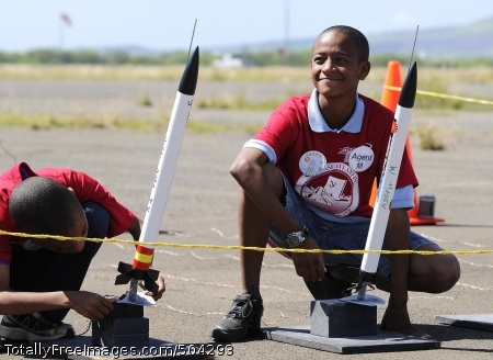 110208-N-WP746-093 PEARL HARBOR (Feb. 8, 2011) Students from Pearl Harbor Kai Elementary School prepare to launch homemade rockets at Ford Island as part of their graduation from the STARBASE Atlantis program. The Navy program is in its 16th year of inspiring fifth-graders in science, technology, engineering and math and recently graduated the 100,000th student. There are 15 Navy STARBASE academies in the U.S. (U.S. Navy photo by Mass Communication Specialist 2nd Class Mark Logico/Released)
