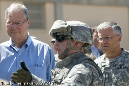 Congressmen visit House Armed Services Committee Chairman Ike Skelton (D-MO) and Chief of Staff of the Army, GEN. George W. Casey, Jr., listen to 1st LT Anderson with the Army Evaluation Task Force talk about the advantages of the Future Combat System called Integrated Computer System at Ft Bliss, TX, on July 12, 2008.  The Congressmen were briefed on the Army's plans to accelerate Future Combat Systems technologies to Soldiers in combat. Army photo by D. Myles Cullen ' Photo Credit: Jul 17, 2008