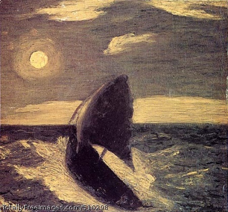 The Toilers of the Sea A sailboat riding the crest of a wave under a moonlit sky. Artist: Ryder, Albert Pinkham, 1847-1917, painter. Medium: Oil on wood. Smithsonian Control Number: IAP 36120597
