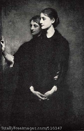 The Sisters Portrait of two women in a dark setting. One woman stands slightly behind the other with her arm around the other's waist. The woman in front folds her hands in front of her. They both look off to the left. Artist: Thayer, Abbott Handerson, 1849-1921, painter. Medium: Oil on canvas. Smithsonian Control Number: IAP 35680365