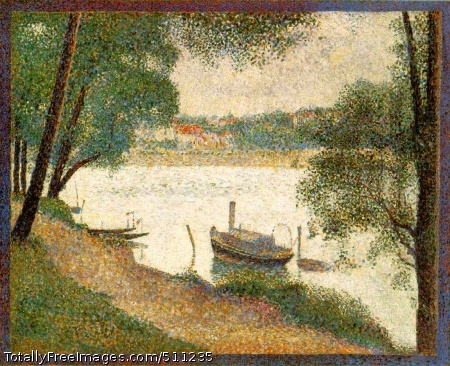 "Gray Weather, Grande Jatte Seurat, Georges Painted 1888 (160 Kb); Oil on canvas, 27 3/4 x 34 in; Signed, bottom left; Philadelphia Museum of Art. Walter H. Annenberg CollectionBy his own description, Seurat set out to discipline the creation of paintings through the systematic application of carefully calculated formulas concerning color, composition, and line, which superseded those works of the older generation of Impressionists. During the second half of the 1880s he laid a foundation for a new, objective mission for the many artists of his own generation who were drawn to his methods. Yet, for all the rigor of intention and application of his theories, the outcome always seemed to comprise a balance of systematic application and poetic expression. This duality is no more apparent than in the vigorously analytical yet subtly evocative painting Gray Weather, Grande Jatte.This picture shows a dull, overcast summer's day on the Grande Jatte, devoid of the rowers, boaters, and fun seekers who populate the 1886 painting, which contains some forty figures. The idle boats are tied up to the mooring posts driven into the shallows along the bank: a little sailboat on the far left; two punts with pennants (perhaps from their rowing clubs) fluttering from the mooring poles; and a steam-powered craft firmly secured between two other poles, its dinghy tied up separately. As large as the latter boat seems in this context, it is probably just a small pleasure craft of the kind that moves gaily downriver in the 1886 painting, its guide sail, which goes up over the metal arch on the stern, furled away.The view across the gently flowing river to the suburb of Courbevoie behind a concrete embankment is framed by the trees of the island. A path worn on the grass moves strongly across the foreground, the boldness of its diagonal somewhat dissipated as it weaves in and through the little grove of trees on the left. The surface of the painting is densely, but not evenly covered by a series of small brush strokes applied with great deliberation. Directly placed pure colors alternate within each area of definition: orange/green, blue/yelloy, and white/gray. A border of alternating strokes of red and blue surrounds the entire canvas. The effect is at once freshly panoramic and spatially flattened. As Robert Goldwater noted, the diagonal placement of the tree trunks is balanced by the visual union of the foliage to the surface of the picture plane, just as the strong angle of the path is spatially thwarted by the even horizon of the bank beyond.It is unusual for Seurat, who was very prudent about his titles, to have given a descriptive title to this painting: ""Gray Weather."" At least three of his harbor pictures bear the notation `Evening' along with the name of the town in which they were painted, but never was he as specific in noting the climatic nature of the moment as he was here. In this he was drawing close to the intention --at least in title--of the Impressionists, particularly Monet, whose declared purpose was to capture specific climatic effects. Given Seurat's relationship to the older generation of Impressionists and his supposed dependency on their attitudes and style--a link that has been seriously questioned in recent criticism--this is an idea worth testing. Is this, indeed, a closely witnessed record of a temporal and climatic condition in nature?Felix Feneon, the critic and friend of Seurat, was among the first to note that one of the grave dangers of Divisionist painting was that through its increasing refinement of the applied, separate stroke that characterize its practice, the interaction of colors tended to cancel one another out, creating a somewhat dulled coloristic effect that may have been just the opposite from the vibrancy intended. That is certainly not the case here, where despite the intensity and degree of density of color strokes, the relationship is so refined and delicately balanced that the overall muted effect is as intended. This phenomenon proved a danger only for those followers of S"