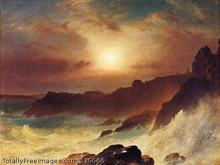 Coast Scene, Mount Desert View of waves crashing against the rocky coast off Mount Desert, Maine with the setting sun in the background. Artist: Church, Frederic Edwin, 1826-1900, painter. Medium: Oil on canvas. Smithsonian Control Number: IAP 06910236