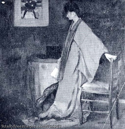 Young Woman in Kimono Interior scene depicting a female figure standing beside a table, her body turned in profile to the left, and her left hand resting on a chair behind her. She wears a brown and red kimono and she carries a fan in her right hand. Artist: Maurer, Alfred H., 1868-1932, painter. Medium: Oil on canvas. Smithsonian Control Number: IAP 08260369