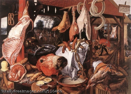 """Butcher's Stall with the Flight into Egypt Aertsen, Pieter 1551; Oil on wood panel, 123.3 x 150 cm (48.5 x 59""""); University Art Collections, Uppsala University, SwedenA Meat Stall with the Holy Family Giving Alms1551; Oil on panel, 115.5 x 169.0 cm; North Carolina Museum of Art, Raleigh, NC, USAIn the 16th and 17th centuries it was quite common for theologians to see a slaughtered animal as symbolizing the death of a believer. Allusions to the 'weak flesh' (cf. Matthew 16:41) may well have been associated with Aertsen's Butcher's Stall where - like on his fruit and vegetable stalls - a seemingly infinite abundance of meat has been spread out.In the foreground tables, pots, plates, a barrel, some wickerwork chairs and baskets serve as supports and containers for huge hunks of meat, pig's trotters, soups, chains of sausages hanging down and freshly slaughtered poultry. In the background there is an open, shingle-roofed studded stable with a pole from which further pieces of meat are suspended, including a pig's head, a twisted sausage and some lard. Through the stable we can see a garden scene. On the right, in the middle ground, a farmer is filling a large jug, and behind him we can see a slaughtered and gutted pig, a motif which Beuckelaer also used as an independent motif, as did Rembrandt later (where the animal is a slaughtered ox).Pieter Aertsen is remembered today mainly as a pioneer of still lifes, but he seems to have first painted such pictures as a sideline, until he saw many of his altarpieces destroyed by iconoclasts. This painting, done a few years before he moved from Antwerp to Amsterdam, seems at first glance to be an essentially secular picture. The tiny, distant figures are almost blotted out by the avalanche of edibles in the foreground. We see little interest here in selection or formal arrangement. The objects, piled in heaps or strung from poles, are meant to overwhelm us with their sensuous reality (the panel is nearly lifesize). Here the still"""