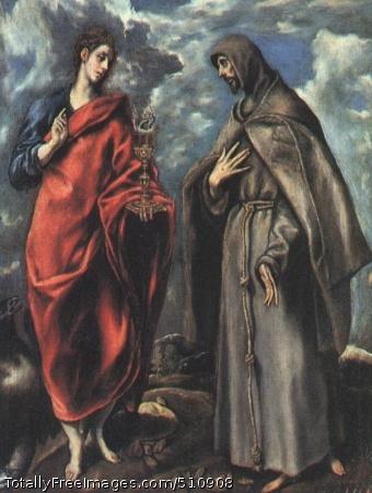 Saints John the Evangelist and Francis 1600 (70 Kb); Oil on canvas; Uffizi