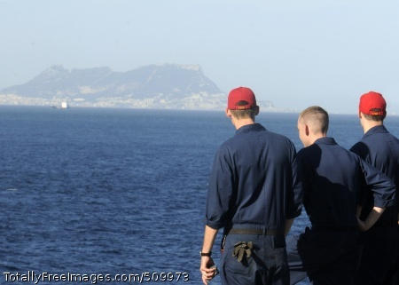 100908-N-3154P-001 GIBRALTAR (Sept. 8, 2010) Sailors aboard the amphibious assault ship USS Kearsarge (LHD 3) observe the rock of Gibraltar as the ship transits the Strait of Gibraltar. The Kearsarge Amphibious Ready Group (ARG) is en route to Pakistan to help provide relief to flood-stricken regions. (U.S. Navy photo by Mass Communication Specialist 3rd Class Scott Pittman/Released)
