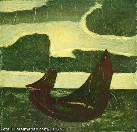 Moonlight Marine Two sailboats on a ocean beneath a full moon. Artist: Ryder, Albert Pinkham, 1847-1917, painter. Medium: Oil and possibly wax on wood. Smithsonian Control Number: IAP 36120594