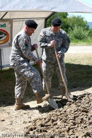 Guided Missile Brig. Gen. Genaro J. Dellarocco, program executive officer, Missiles and Space, Redstone Arsenal, Ala., and Col. Steven Shapiro, Letterkenny Army Depot commander, officially break the ground at the site of the new Guided Missile Maintenance Facility, Letterkenny Army Depot, Pa., May 28.  Photo Credit: Jun 6, 2008