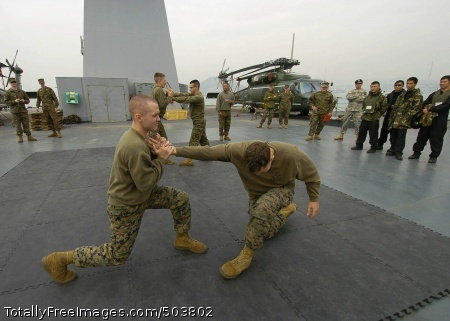 110223-N-5086M-125 HONG KONG (Feb. 23, 2011) Lance Cpls. Zachary Gregory and Ren Beazley, both assigned to Fleet Anti-Terrorism Security Team (FAST) Pacific, conduct a martial arts training exhibition during a professional development exchange aboard the U.S. 7th Fleet command ship USS Blue Ridge (LCC 19) with members of the Flying Tigers from the Hong Kong Police Department Special Duties Unit. Blue Ridge is conducting a spring patrol. (U.S. Navy photo by Mass Communication Specialist 1st Class Greg Mitchell/Released)