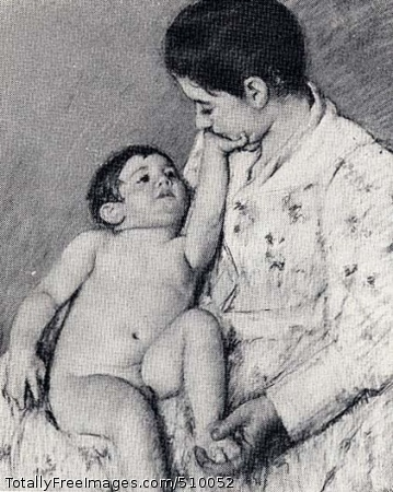 A Caress A woman holds a naked child on her lap. The childs reaches his hand to the mother's face and the mother holds the child's foot in her hand. Artist: Cassatt, Mary, 1844-1926, painter. Medium: Pastel on paper. Smithsonian Control Number: IAP 07130197