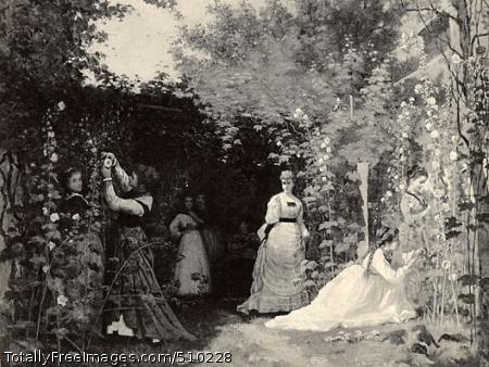 Hollyhocks Artist: Johnson, Eastman, 1824-1906, painter. Medium: Oil on canvas. Smithsonian Control Number: IAP 07130089