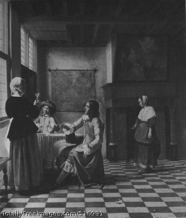 An Interior, with a Woman Drinking with Two Men, and Maidservant Oil on canvas; London National Gallery