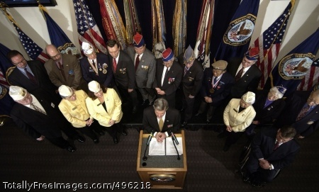 VA announces Veterans Affairs Secretary R. James Nicholson, along with leaders of major veterans organizations, announces the Veterans Pride Initiative at the Department of Veterans Affairs headquarters in Washington, D.C., Oct. 18. Photo Credit: Oct 19, 2006