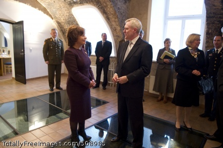 101008-N-5549O-004 VILNIUS, Lithuania (Oct. 8, 2010) Secretary of the Navy (SECNAV) the Honorable Ray Mabus greets Lithuanian Minister of Defense Rasa Jukeviciene in Vilnius, Lithuania. Mabus is on a three-day trip to the Baltic States, visiting with heads-of-state, their representatives, and military leaders to discuss strategic objectives for the U.S. Navy and Marine Corps. Mabus is also discussing maritime security cooperation with European nations. (U.S. Navy photo by Mass Communication Specialist 2nd Class Kevin S. O'Brien/Released)