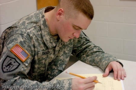 DA Best Warrior Sgt. Nicholas Johnson, 8th U.S. Army Soldier of the Year, writes down answers to the 20 essay questions of the written exam during the Department of the Army Soldier/NCO of the Year competition at Fort Lee, Va. Oct. 3.  Photo Credit: Oct 3, 2007