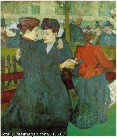 At the Moulin Rouge: Two Women Waltzing 1892; Oil on cardboard, 93 x 80 cm; Narodni Galerie, Prague