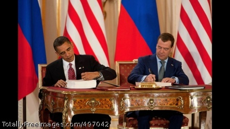 START 31 President Barack Obama and President Dmitry Medvedev of Russia sign the New START Treaty during a ceremony at Prague Castle in Prague, Czech Republic, April 8, 2010. (Official White House Photo by Chuck Kennedy)