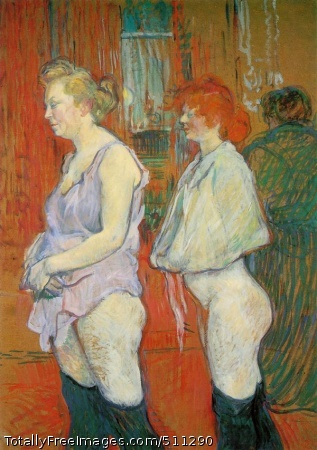 Rue des Moulins: The Medical Inspection 1894; Oil on cardboard, 82 x 59.5 cm; National Gallery of Art, Washington
